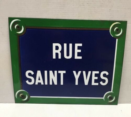 Original Antique Paris street sign french enamel sign green boarder