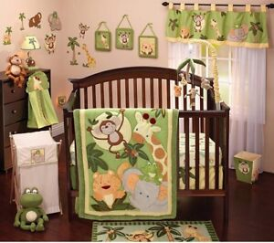 NoJo Jungle Babies 7 pces Crib Bedding Set