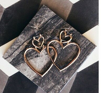 - 14K Gold Plated Two Heart Dangle Drop Fashion Earrings 073