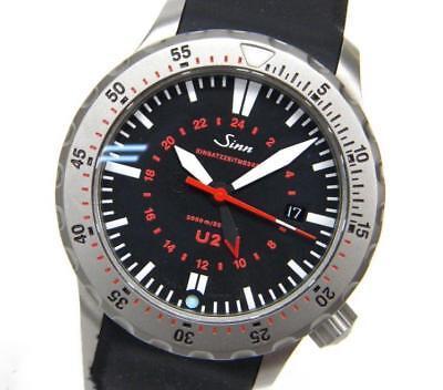 SINN U2 U-BOAT Black Dial Automatic Watch Used W/Box Excellent++