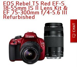 CANON EOS REBEL T5 RED WITH 18-55 MM LENS AND 75-300 MM LENS