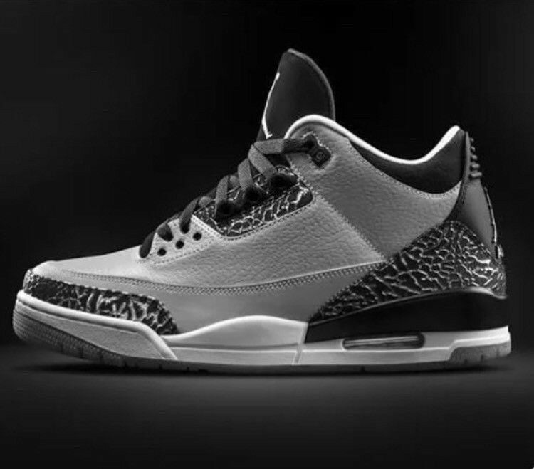 e2e87870859f0a Nike Air Jordan 3 WOLFGREY Retro3 Black Silver Cement3 Print RARE UK10  FOOTLOCKER RECEIPT 100sales