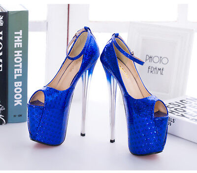 Glittering Peep Toe  Mens Platform Drag Queen High Heels Strappy Shoes Plus Size