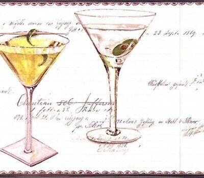 Martini Glass Wallpaper Border (Wallpaper Border Bar Drinks Cocktails Spicher Fun Martini Glass Black White )