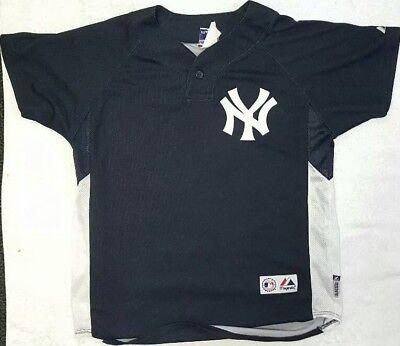 DEREK JETER Majestic Cool Base MLB New York Yankees Jersey #2 Youth Large NICE!