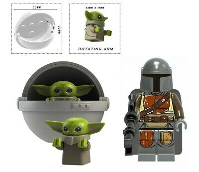 BABY YODA & CARRIAGE + MANDALORIAN A MINIFIGURE FIGURE USA SELLER NEW IN PACKAGE