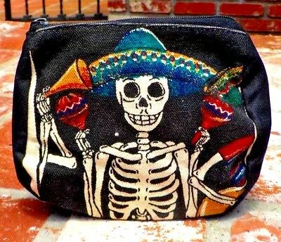 DAY OF THE DEAD MULTI COLORED MARIACHI MAKE UP  COIN BAG MEXICO FREE SHIPPING](Day Of The Dead Make Up)