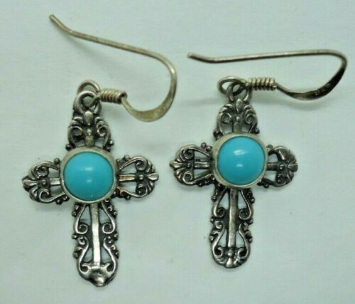 Southwestern sterling & turquoise cross earrings signed G&S
