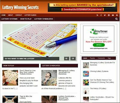 Lottery Winning Blog - Established Profitable Turnkey Wordpress Website For Sale