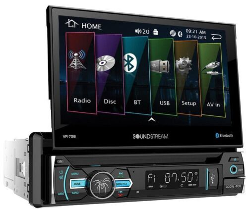 "Soundstream 1 Din VR-75B DVD/CD/MP3 Player Flip Up 7"" Monitor Bluetooth USB AUX"