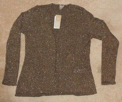Chicos Apparel Calista Chiffon Shitake Brown  Cardigan Sweater Size 1 M  Nwt