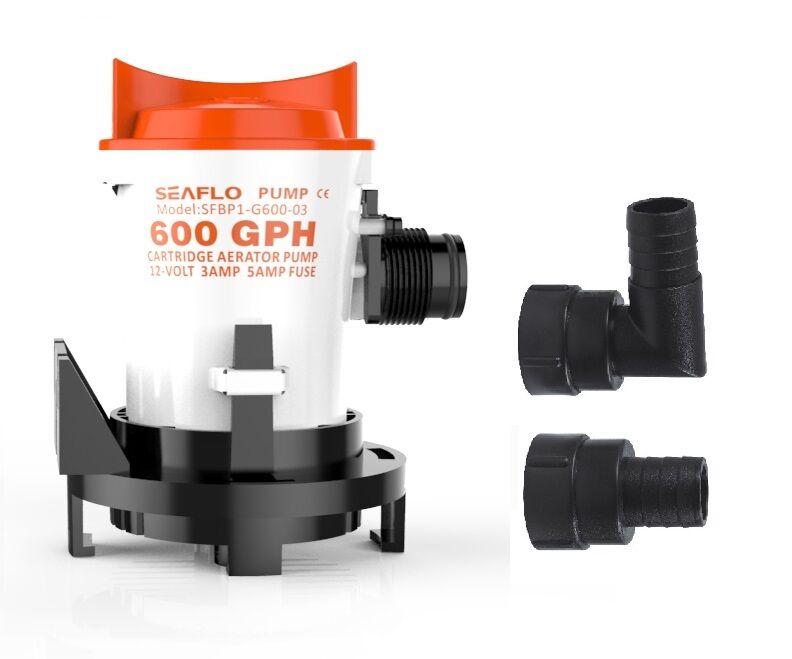 SEAFLO 12V 600 GPH Side-Mount Bilge Pump Cartridge Submersible FREE SHIPPING