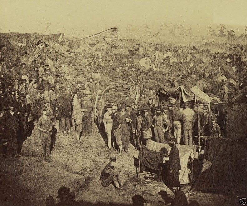 New 8x10 US Civil War Photo - View of Andersonville prison camp from gate 1864