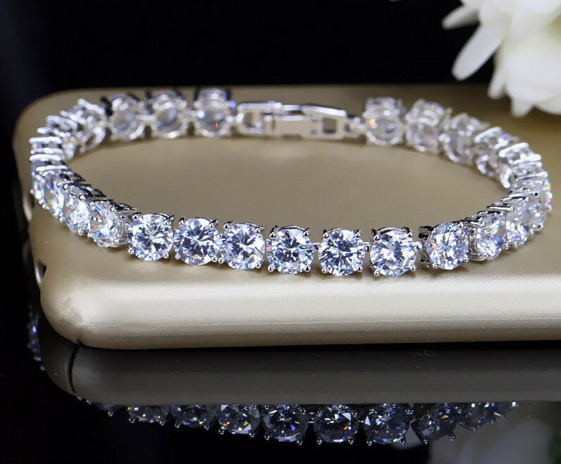 Bracelet - 10ct S-Link Tennis Bracelet with Diamonds in 18k White Gold Perfect Finish