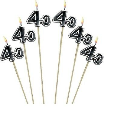 40th Milestone Candles on a Stick 40th Birthday Candles Cake Decorations 40 yr