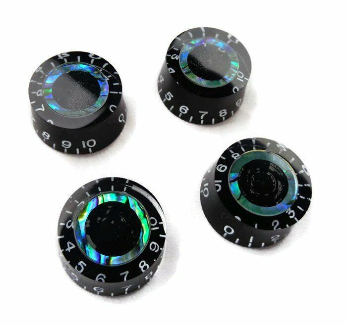 4 Black Electric Guitar Top Hat Knobs Les Paul Abalone Blue Green B-stock