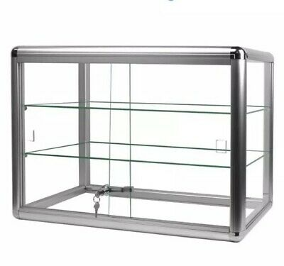 F-1301-s Aluminum Frame Counter Top Glass 2-shelf Display Case