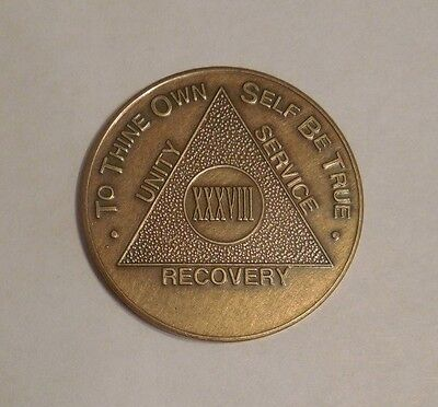 aa alcoholics anonymous bronze 38 year recovery sobriety coin token for sale  Shipping to Canada
