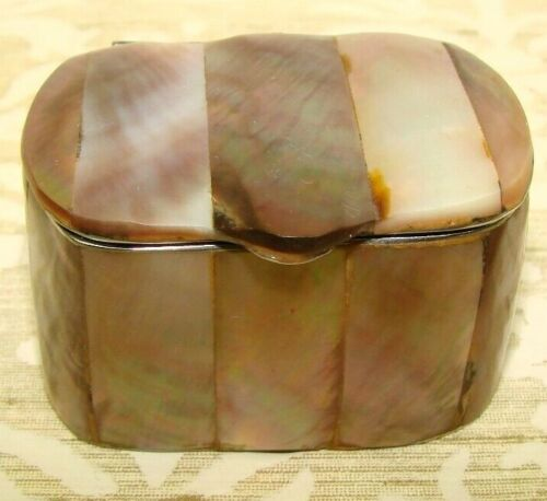 VINTAGE TRINKET PILL BOX MOTHER OF PEARL ABALONE SHELL VERY PRETTY PHILIPPINES