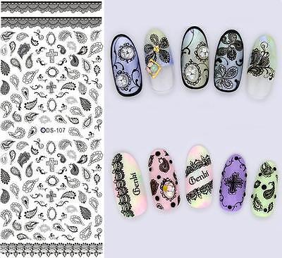HOT DS Adesivi unghie HALLOWEEN DARK EMO GOTHIC LOLITA Stickers nail ART decals