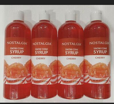 4 Nostalgia Snow Cone Syrup Cherry New Sealed 16 Oz Each