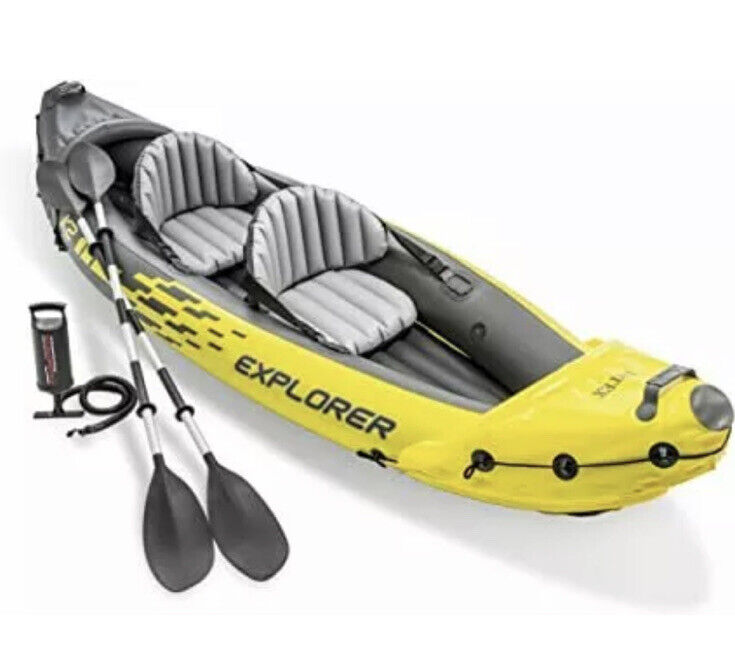 NEW Intex Explorer K2 Kayak 2-Person Inflatable Set with Oars & Air Pump Yellow