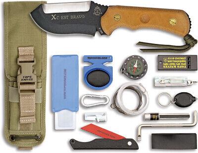 Tops TPXCESTBCT Knives Fixed Blade Knife Stainless Matte Micarta Handle XcEST