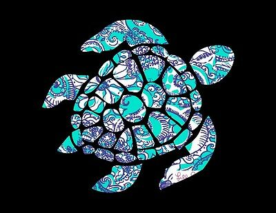 - Sea Turtle in Blue Teal & White Decal for Truck/Car/Window