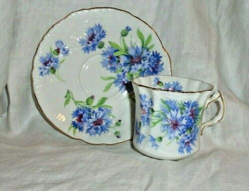 Vtg Hammersley Bone China Tea Cup & Saucer Set England Kentish Cornflower Blue
