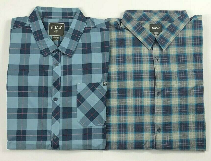 Men's Fox Short Sleeve Plaid Button Up Shirt