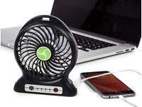 Small Fan about Size of Hand Portable Punchy 3 Speed with Powerbank iphones and Android + LED Light