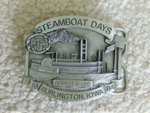 1984 Steamboat Days Robert E Lee Burlington Iowa Pewter Belt Buckle 852/1000