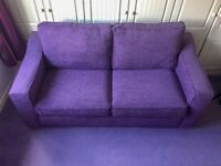 Furniture Village Perfect Condition Purple Fabric Sofa Bed - Extremely comfortable