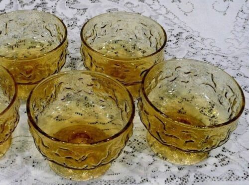 Set of 4 Vintage Anchor Hocking LIDO MILANO Amber Gold Footed Dessert Cups
