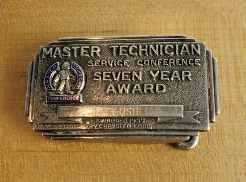 Vtg 1955 Chrysler Sterling Silver Belt Buckle Master Technician Service Award