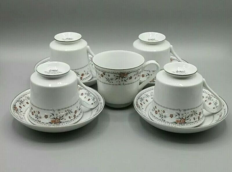 Wade Sone Claremont Tea cups Coffee Fine Porcelain China Red Flowers with silver