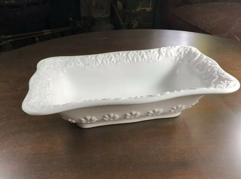 "BIZZIRRI White Scalloped Rectangular Italian Hand Made 12"" Serving Dish • EUC"