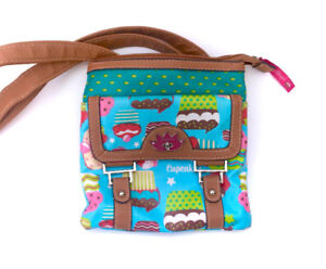 Lily Bloom Cupcake Messenger Cross Body Bag Purse Clutch 100% Re