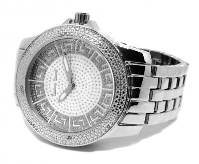 Techno Trend Iced Out Greek Design Micro Pave Face Hiphop Mens Watch