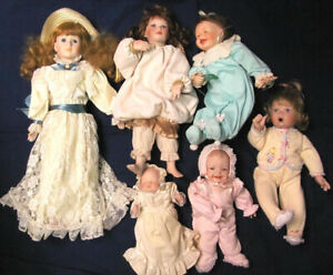 ASHTON DRAKE  PORCELAIN-HEAD DOLLS COLLECTION  OF 6 DOLLS
