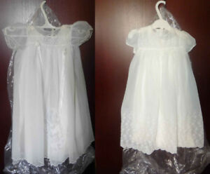 TWO ANTIQUE  CHRISTENING GOWNS DRESSES WITH MATCHING UNDER-SLIPS