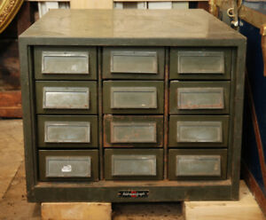 Antique File Cabinet Storage Army Army Green Grey Vintage