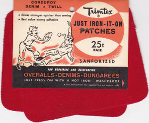 Vintage Trimtex IRON-IT-ON Patches Clothing Corduroy Red