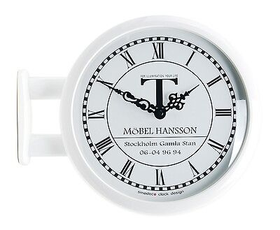 Modern Art Design Double Sided Wall Clock Station Clock Home Decor - M0604White