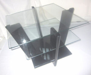 Vintage Art Deco Style Glass and Black Lacquer Coffee Table