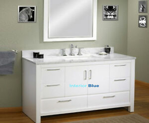 "60"" Solid Wood Vanity with Marble Top - Hot Deal"