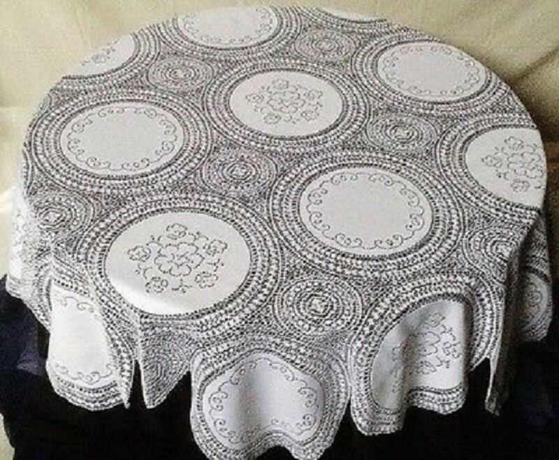 """Lace Tablecloth White Windsor 74"""" Scalloped For Round Tables"""