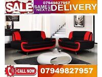 KAROL LEATHER 3 and 2 SEATER SOFA WHITE, RED, BLACK and BROWN