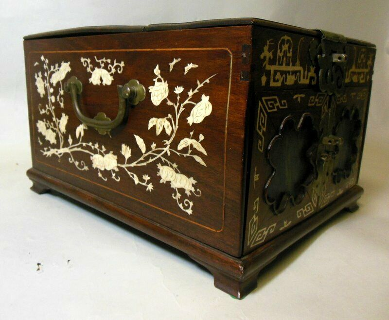 Antique Asian Chinese Vanity Jewelry Box Chest Mirror 2 Drawers