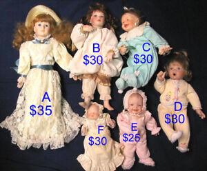 HAVE A JOLLY DOLLY CHRISTMAS ! PORCELAIN-HEAD DOLLS $25-$35 EACH
